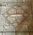 VINTAGE+OFF+WHITE+LINEN+FLORAL+CUTWORK+%26+EMBROIDERY++LACE+TABLECLOTH+49%22