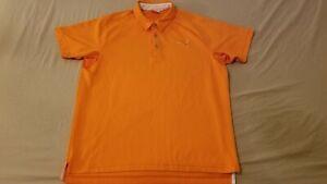 Mens Puma Polo Shirt M Medium Orange Athletic Golf