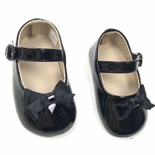 Baby Deer Baby Girls 6-9 Month Black Mary Jane Crib Bow Shoes Crawling Stage Nib