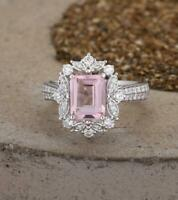 2Ct Emerald Cut Peach Morganite Halo Engagement Ring 14K White Gold Over