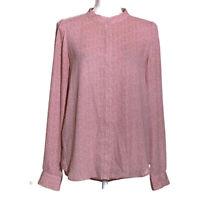 Ann Taylor Loft women's shirt button down long sleeve blouse print size small