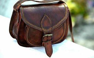 Womens Vintage Genuine Brown Leather Messenger Shoulder Cross Body Bag