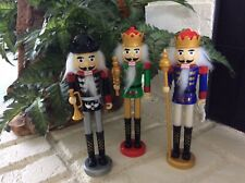 """CHRISTMAS Holiday LOT OF 3 DECORATIVE 8"""" NUTCRACKER SOLDIERS - PLASTIC - NEW"""