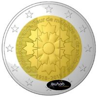 Pièce 2 euros commémorative FRANCE 2018 - Armistice et Bleuet - Qualité UNC