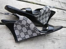 Vtg. '90's Gucci wedge slingback slide Monogram sandal black/grey 9B