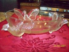 VINTAGE DEPRESSION GLASS 3 FOOTED PHEASANT BOWL Price reduced!!