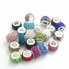 50pcs mix Rhinestone Bead fit European Charm Necklace Bracelet Chain jewelry #5