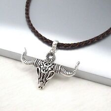 Braided Brown Leather Choker Necklace Silver Alloy Longhorns Bull Skull Pendant