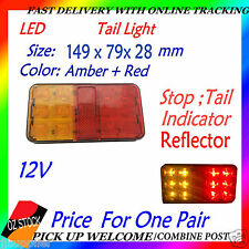 One Pair 12v LED Tail Light UTE Trailer Caravan Stop Tail Indicator Lights