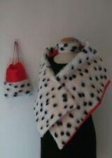 Cruella De Ville 101 Dalmatian Shawl Bag Choker Set Unique Soft Fur Red lining