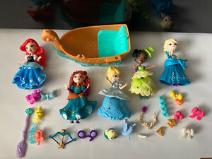 Disney little kingdom figure bundle Princess Boat Ariel Tiana Merida Acces