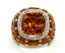 Huge Cushion Citrine & Diamond Cluster Solitaire Ring 18k Yellow Gold 13.77Ct