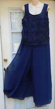 Vintage PATRA Long Sleeveless Blue Evening Cocktail Culotte Style Dress! Large