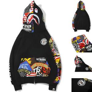 BAPE A Bathing Ape MEN Shark Head Hoodie Sweater Full Zip Camouflage Jacket Coat