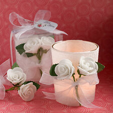 10 x White Rose Tea Light Holders Candle Votive Wedding Table Decorations