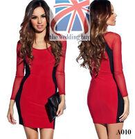 Womens Mini Dress Club Wear Party Evening Sexy Side Stripe Mesh Long Sleeve A010