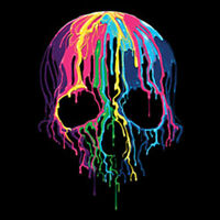 Colorful Painted Trippy Gothic Melting Skull Funny Cool T-Shirt Tee