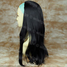 Wiwigs Black 3/4 Fall Long Straight Half Ladies Wig Hairpiece