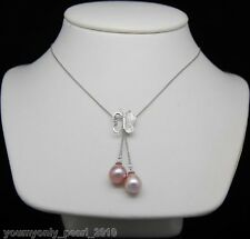 "MP"" Natural 9-10mm AAA+ purple pearl pendant 925S chain"