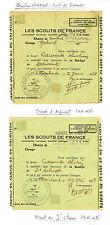 Scouts de France. Lot de 18 badges de classe et documents attribués, 1902-1942