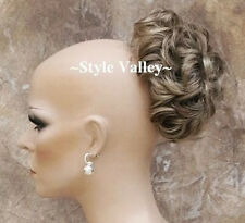 Brown blonde mix Bun Hairpiece Extension Pageant  Updo Curly Wedding Hair Piece