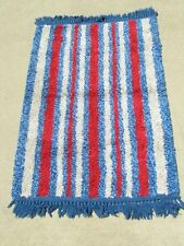 Great Red White Blue striped Cotton Mid Century Modern Rug Mat Blue Fringes