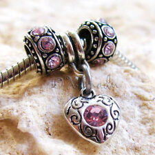 Pink Heart European Charm Beads For Large Hole Charm Bracelets And Necklaces