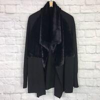 Banana Republic Women's Small Cardigan Sweater Faux Fur Black
