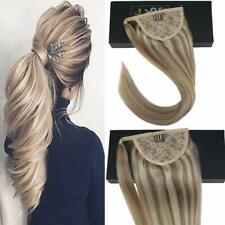 Sunny Magic Tape Ponytail Human Hair Extensions Ash Highlight Blonde #18/613 80g