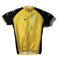 SMS Santini Size XXL Yellow/Black Cycling Jersey 1/4 Zip Made It Italy