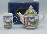 NIB  SADLER BONE CHINA DICKENS DAVID COPPERFIELD TEAPOT AND BEAKER SET
