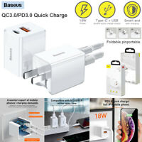Foldable 18W QC3.0 PPS PD Dual Port Type-C USB Quick Charge Wall Charger Power