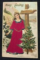 Pretty~Silk Angel in Long Red Robe~with Christmas Tree ~Antique Postcard-m845