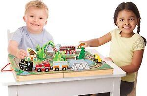 Melissa & Doug 30140 Take-Along Railroad (Portable Tabletop Set, 3 Train Cars, 1