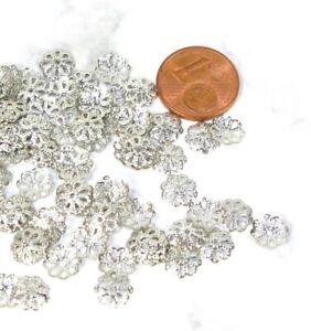 Perlenkappen 100 Stück Silberkappen filigran silberfarben  7mm