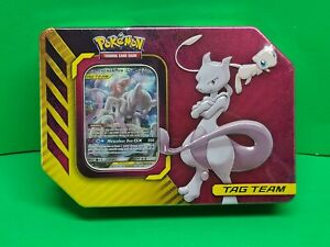 Mewtwo & Mew GX Tag Team Power Partnership Tin Pokemon TCG Factory Sealed New!🔥