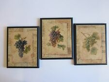 Grapes Kitchen wood wall decor plaques Italian French Bistro style wine Yellow