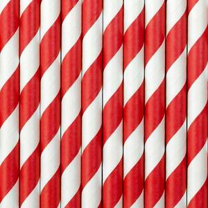 Red and White Stripe Paper Straws - Birthday Party Vintage Drinking Straws