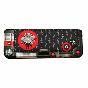 Boys Girls Kids Filled Pencil Case Compartments School Stationery Set - Black