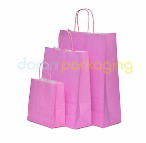 Pastel Pink Paper Bags Twist Handle Party Gift Carrier / Paper Bags With Handles
