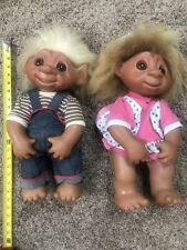 """Vintage 1979 TH DAM 806 Large Girl & Boy Troll Dolls with Clothes 18"""""""