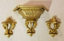 Beautiful Set Goldtone Wall Shelf W/ 2 Wall Sconces Plastic Home Interior Decor