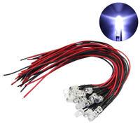 20 x White LED Lamp Light Set 20cm Pre Wired 5mm 12V DC L125W