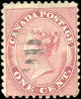 1859 Used Canada 1c VG-F Scott #14b Perf 11.75 x 11.75 First Cents Stamp