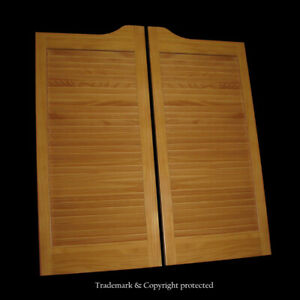 """CAFE DOOR PRESTAINED HONEY LOUVERED 24"""" 32"""" or 36"""" **SCRATCH & DENTS** Saloon"""