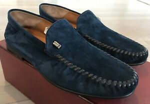 600$ Bally Cristian New Blue Suede Loafers Size US 10 Made in Switzerland