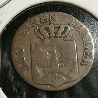 1836 GERMANY 1 PFENNIG MUNZE COPPER COIN
