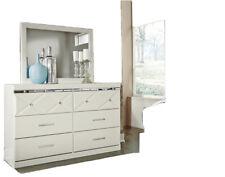 3 Pc White Queen Bed Frame Dresser Mirror Bedroom Ashley-Furniture Set