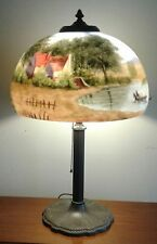 Vintage Miller Light Company Base with Spectacular Hand Painted Glass Shade MLCO