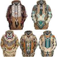 Mens Indian Style 3D Hoodie Pullover Sweater Shirt Hooded Casual Sweatshirt Tops